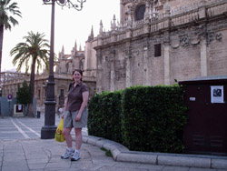 Kate outside the Seville Cathedral, the third largest church in the world.