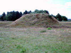 One of the reconstructed earth mounds at Sutton Hoo. The one in which the ship burial was found is twice as large as this. And cause we did a tour of the site we actually got to go into the site and climb on the mounds!